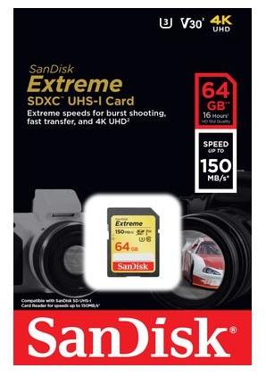 SANDISK EXTREME 150MB/s SDXC 64GB V30